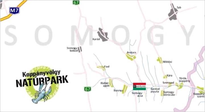 Vakantie Landkaart Koppany Volgy naturpark