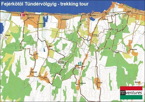 Hiking map Fejérkõtõl Tündervölgyig